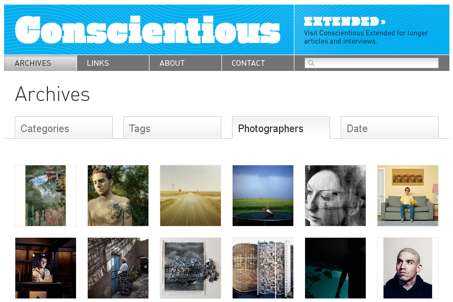 conscientious :     Sure, there's Pinterest now, the currently hottest social-media game in town. But did you know that  Conscientious  had its own version of Pinterest for years? It's the  photographers archive , fully based on visuals (and some text that you see when you move your mouse over an image).     So very true. There's also  Flak Photo  of course. Both are stellar websites far better than much of Pinterest, in my opinion.