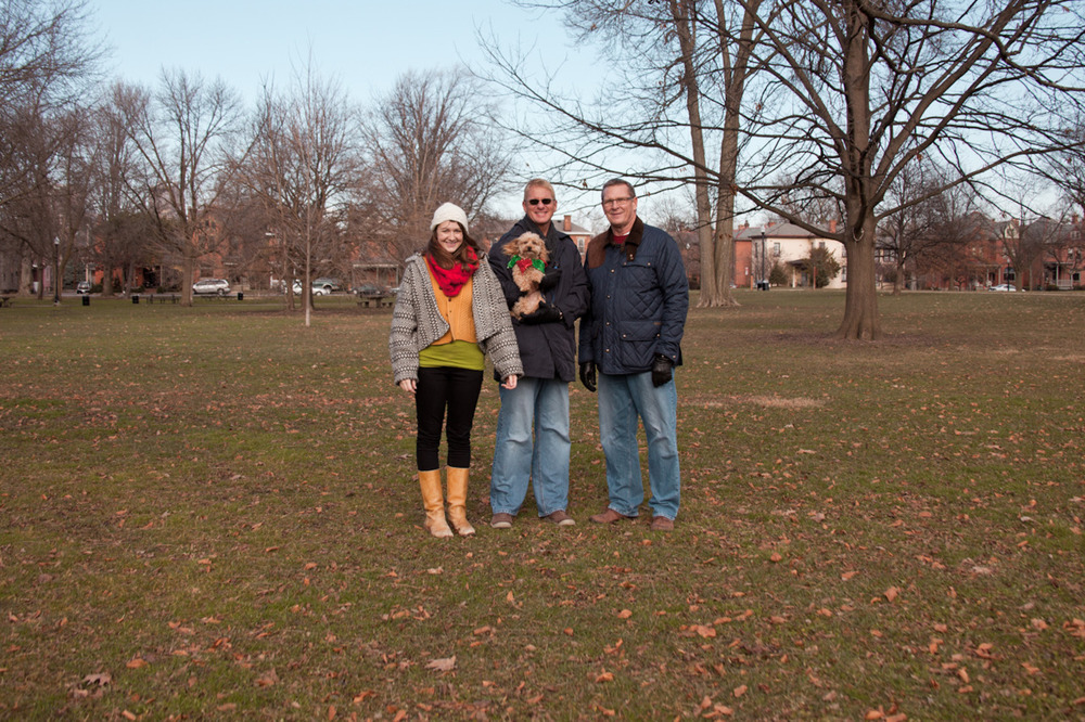 Oh look.  An awkward partial family portrait to lighten the mood around my blog.  This was taken on Christmas day.  Me, my dad's partner Ken, and my dad.  And little Monty in the middle.  Aww. [from the recent archives; December 25, 2011; Columbus, OH]