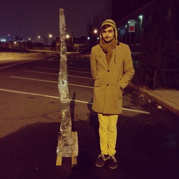 Brandon Cook with lone ice sculpture; February 10, 2012