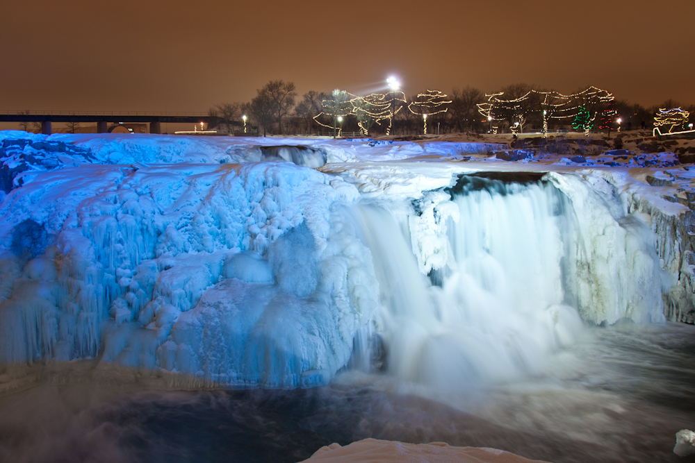 Falls Park; Sioux Falls, South Dakota (lighting done by park officials) [from the archives; December 22, 2010]