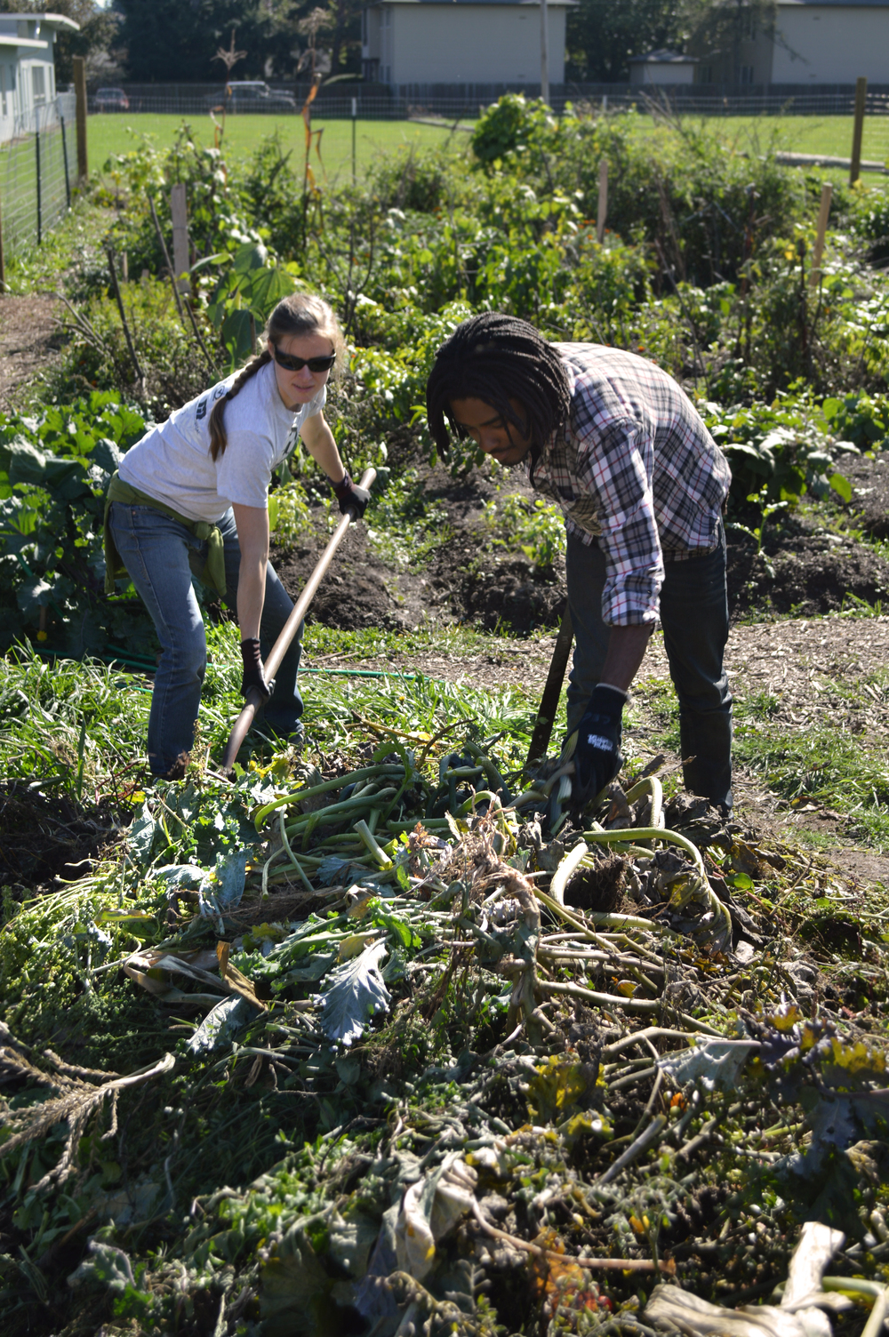 Caitlin and Axcelle volunteering at the Outgrowing Hunger garden