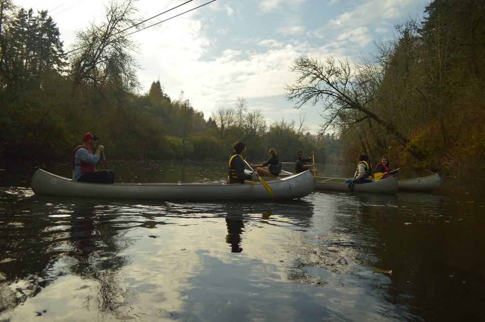 Paddling along the Tualatin river for a team meeting
