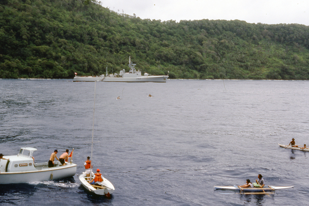 "HMCS Qu""Appelle at anchor, Western Samoa (Romanow/CCM archives)"