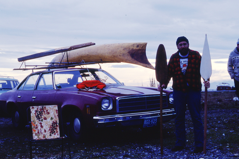 HMCS Qu'Appelle's navigator Greg Romanow with paopao on the  sedan (Romanow/CCM Archives)