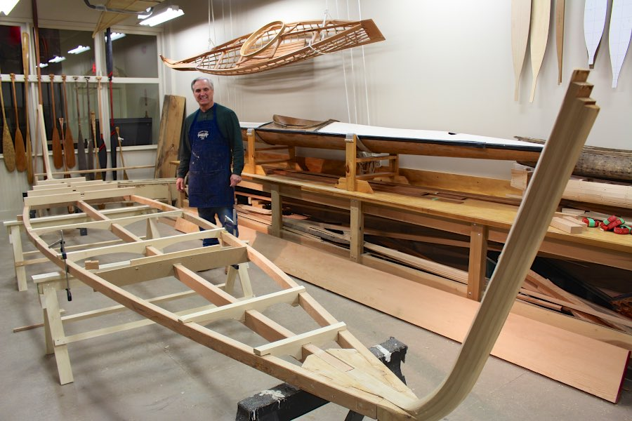 Russ Parker with the floor ribs of the Umiak in place