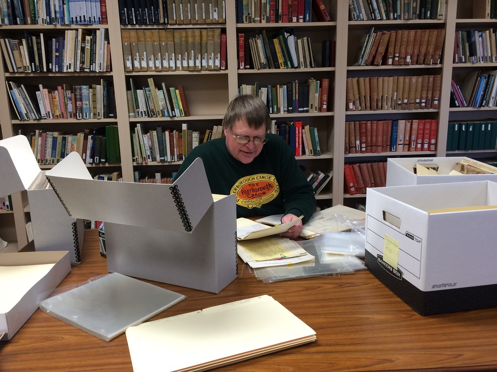 Don Willcock of Trent Valley Archives, arranging the MacGreggor collection