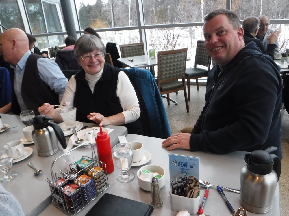 Cameron White and Barbara Huck enjoying breakfast at our pre- Silver Canoe Dinner meeting