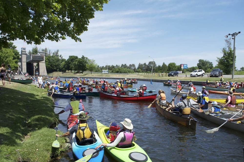 A beautiful sight! The Trent Severn Waterway at the base of The Peterborough LIft Lock filled with paddlers!