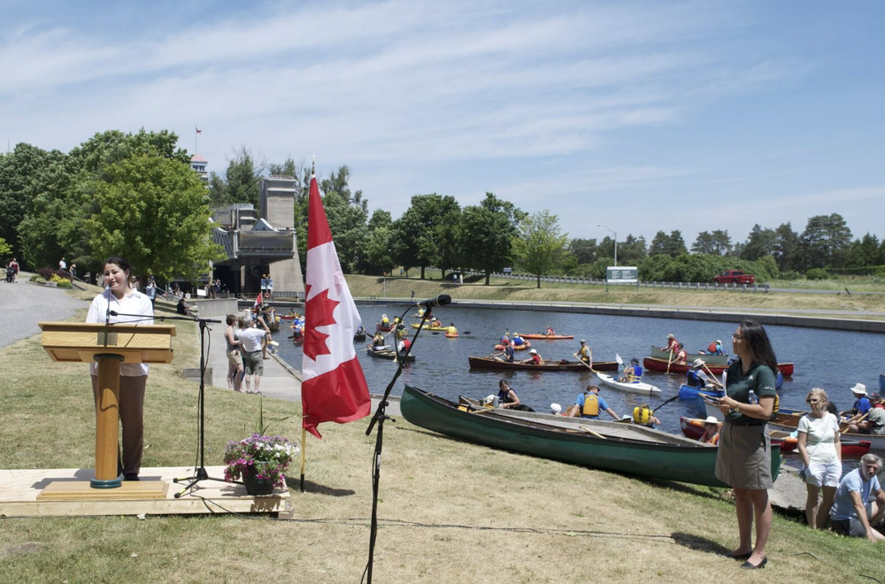 Peterborough Kawarthas MP Maryam Monsef announces 270 Million in funding for infrastructure on the Trent Severn Waterway over the next 5 years prior to joining the festivities in the Canadian Canoe Museum's Voyageur Canoe!