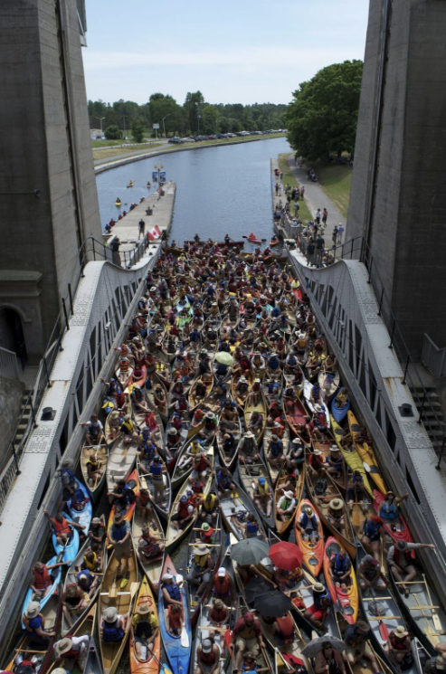 138 canoes and kayaks in the Peterborough Lift Lock! A new record to beat!