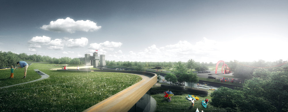 The museum's stunning green roof will provide a community green-space with fantastic views to the Lift Lock.