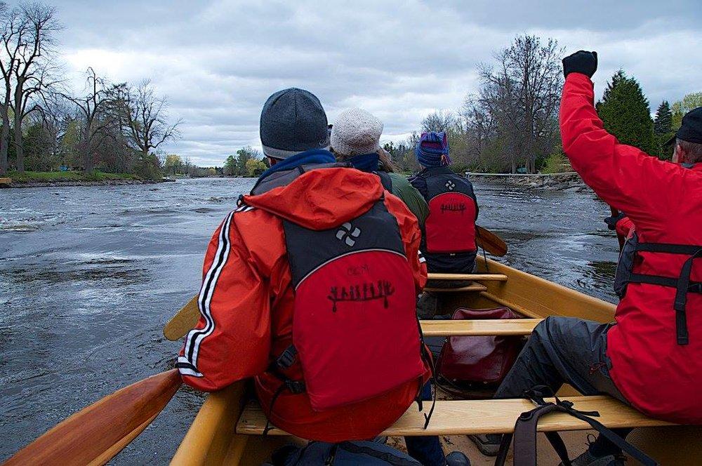 participants paddling