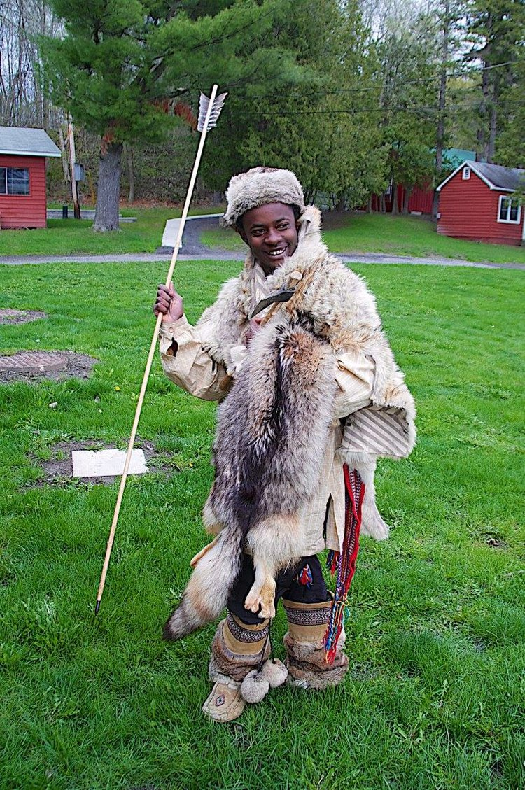 one participant dressed up in traditional fur garments
