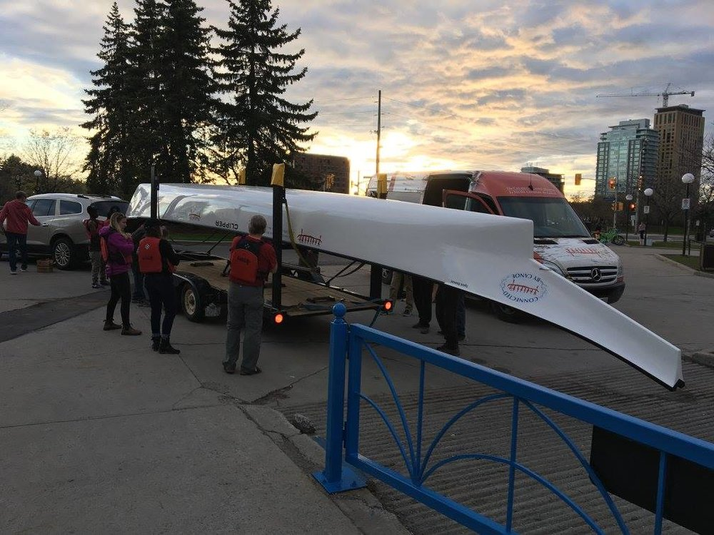 other large canoes arrive on trailers to be launched