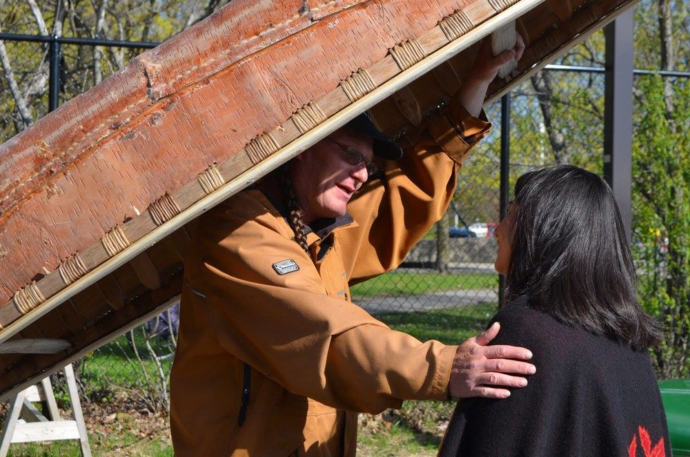 Stephen Hunter  greets Maryam Monsef at the launch of the Ceremonial Leg at Dows Lake on the morning of May 11th.