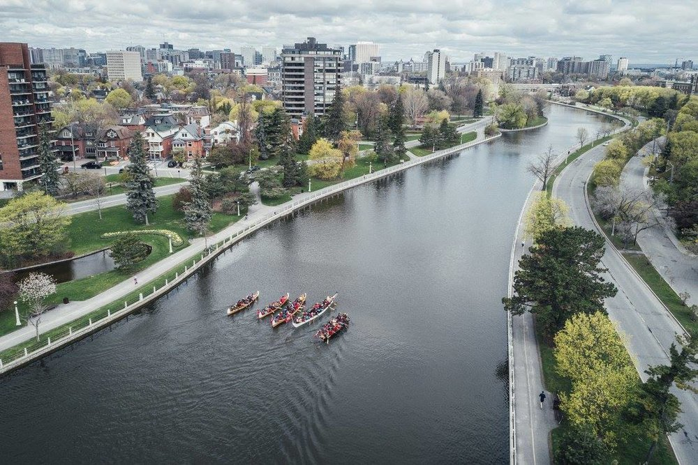 overhead shot of the large canoes in the river