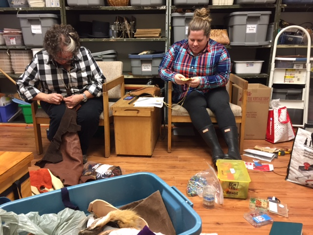 Educators extraordinaire, Jen and Kerry, prepping leather bag kits!