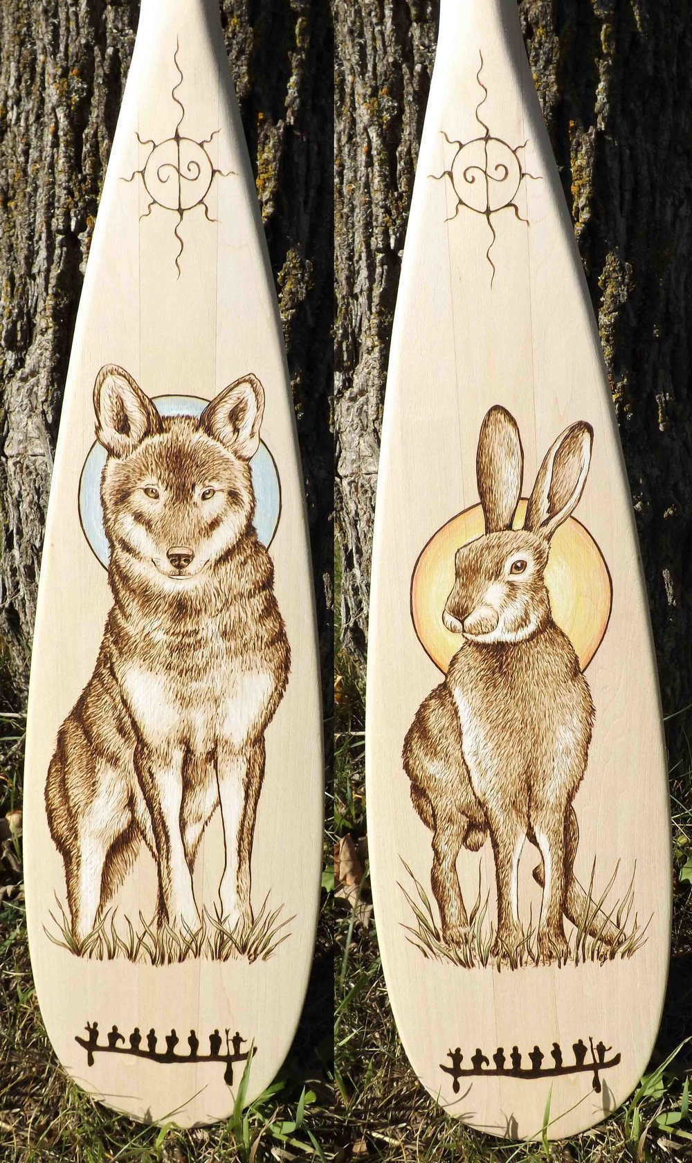 A Large wolf and hare pyrography  course paddle 2017.jpg.jpg