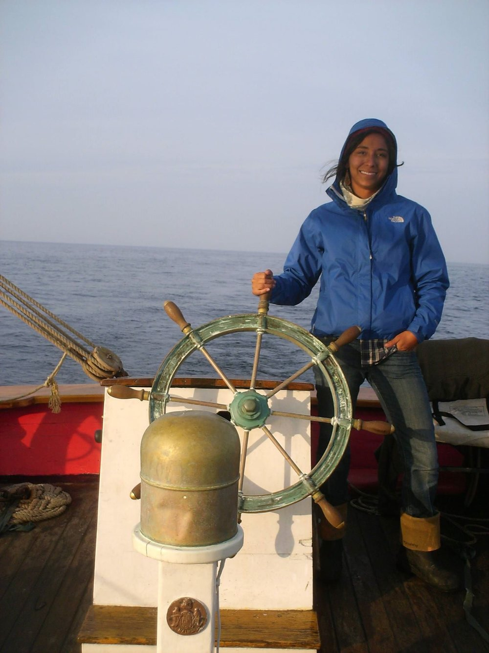 Sailing With NOAA... - The life of working on a schooner was exciting, but it wasn't the most profitable. Amanda then fell back on her Biology degree and began working with NOAA and the National Marine Fisheries Service as an At-Sea Monitor.  This job demanded her to be at sea from 1-9 days aboard active ground fishing vessels monitoring the daily interactions of the fisherman with marine life.  This included documenting, quantifying and speciating every organism that landed on deck of these fishing boats.  This life was challenging but stimulating, glorifying the hard and humble life of fisherman and unveiling the creatures of the depths of the cold Northern Atlantic.  In the 2 years she worked for NMFS she would see her fair share of whales, sharks, cod, guts & gulls. After living the irregular life of jumping boat to boat & port to port, Brooks decided to part with NMFS and went back to the laid-back days of sailing aboard both the schooner Appledore and as the First-mate of a new boat out of Kennebunkport, Maine, the Pineapple Ketch. She worked the summer away hauling lines and educating passengers of marine life and the art of sailing.  Amanda then weighed her options, she could follow the Appledore south to the heat of the Keys once again or she could find something new that kept her in the cold and snow (the latter was what she preferred).  She made one last Southbound delivery aboard the Appledore, then flew back to embark on her new adventure, the art of Dog Mushing.