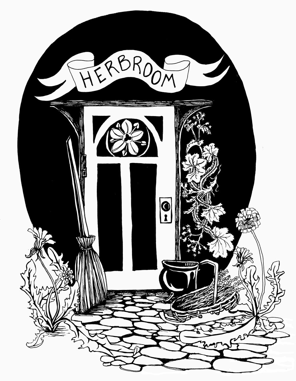 herbroom logo - Logo design for Portland, ME based herbalist, Jennifer Nelson.(Featuring elder flower, lady's mantle, dandelion & a basket of lavender!)