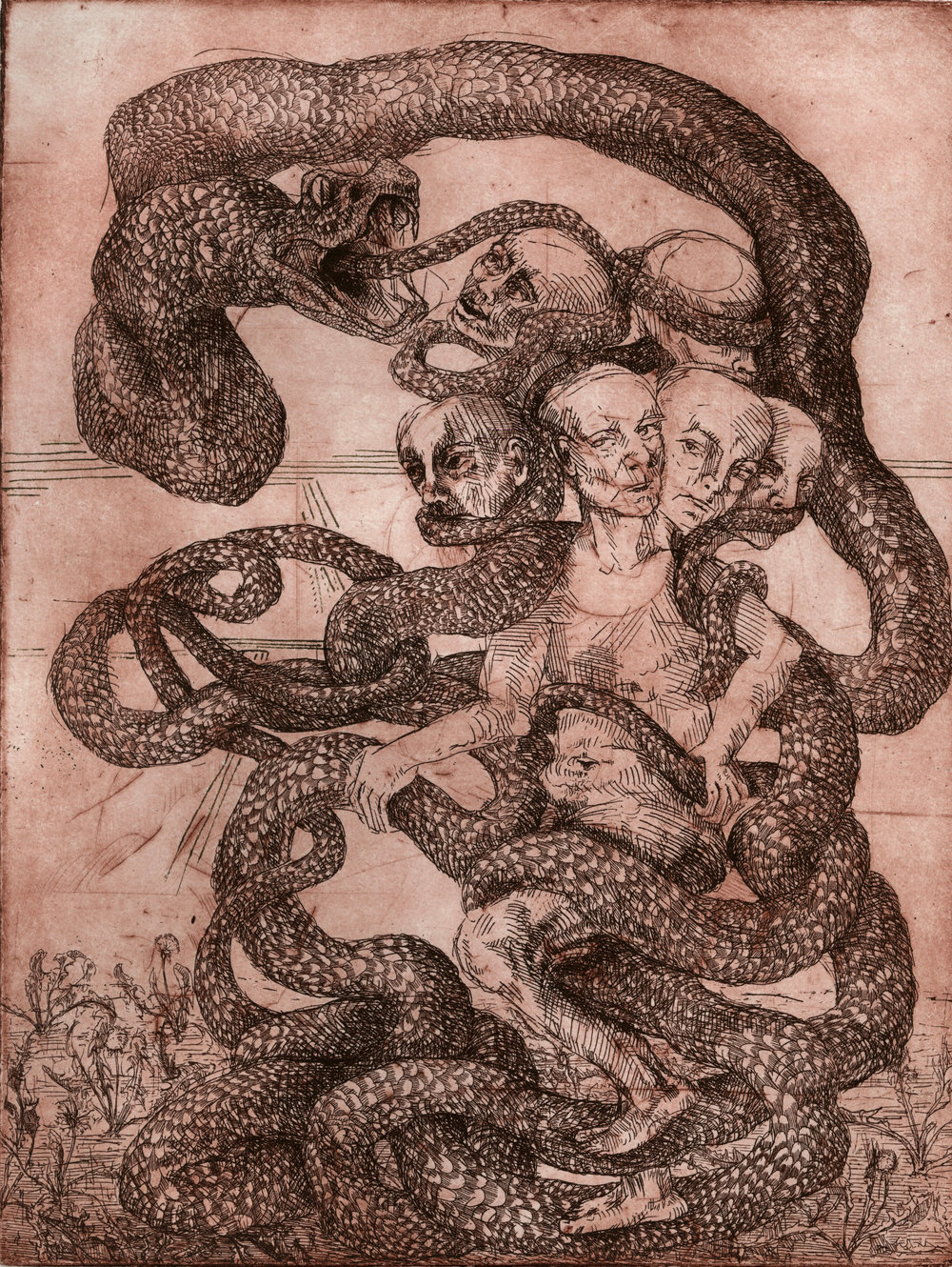 The Ouroboric - Etching for commission, responding to patron's description of the ouroborus as a self-isolating and anxious mind. Dandelions sprout in the otherwise arid ground, offering a potential escape route...
