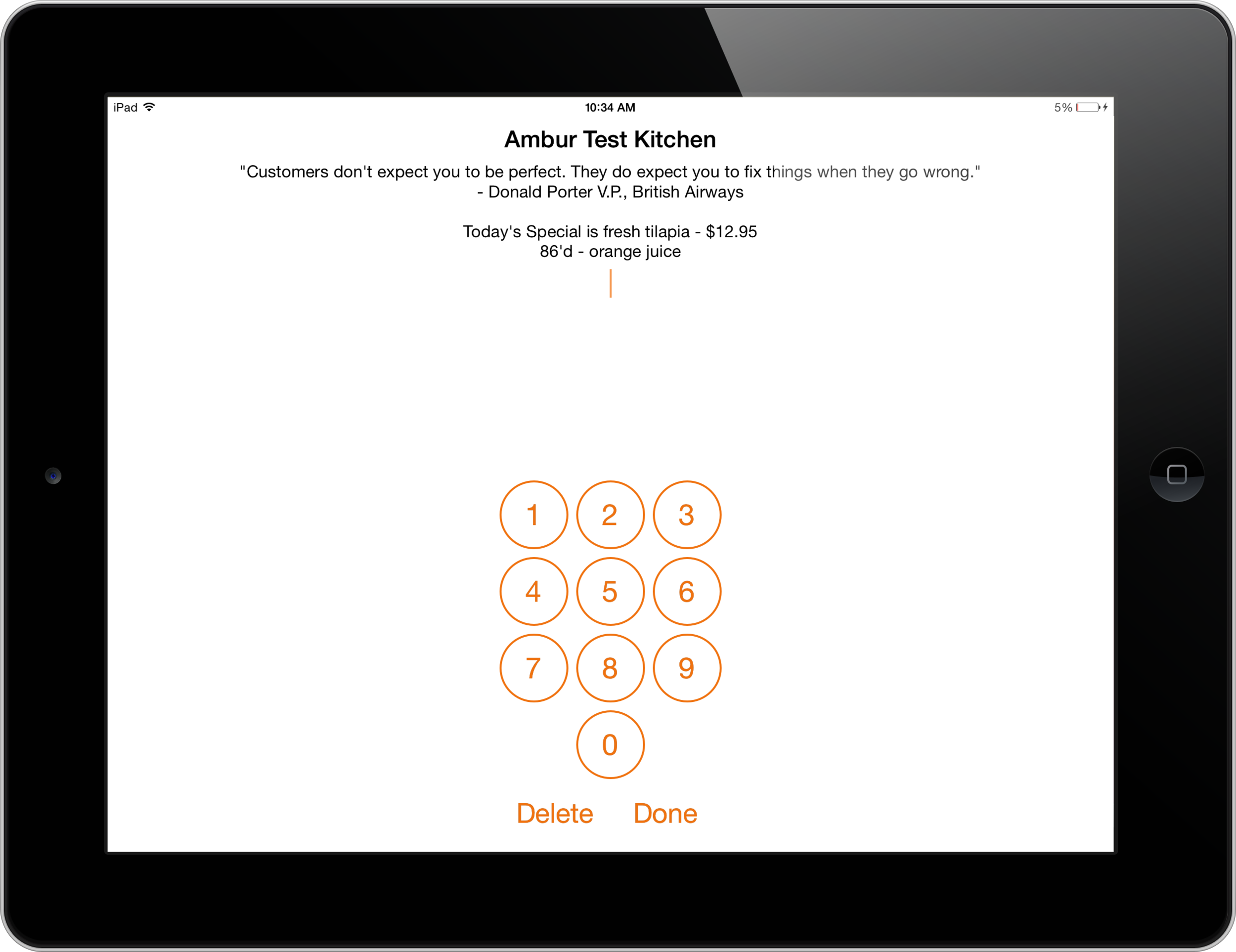 iPad POS Status Message