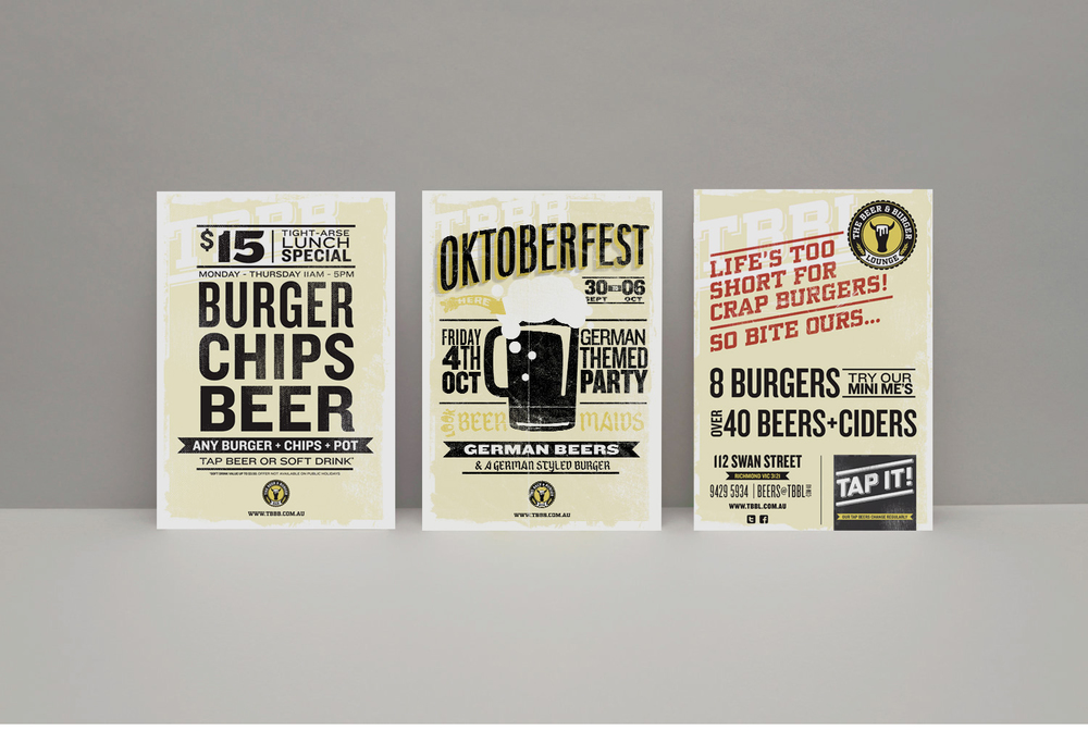 The Beer and burger lounge posters