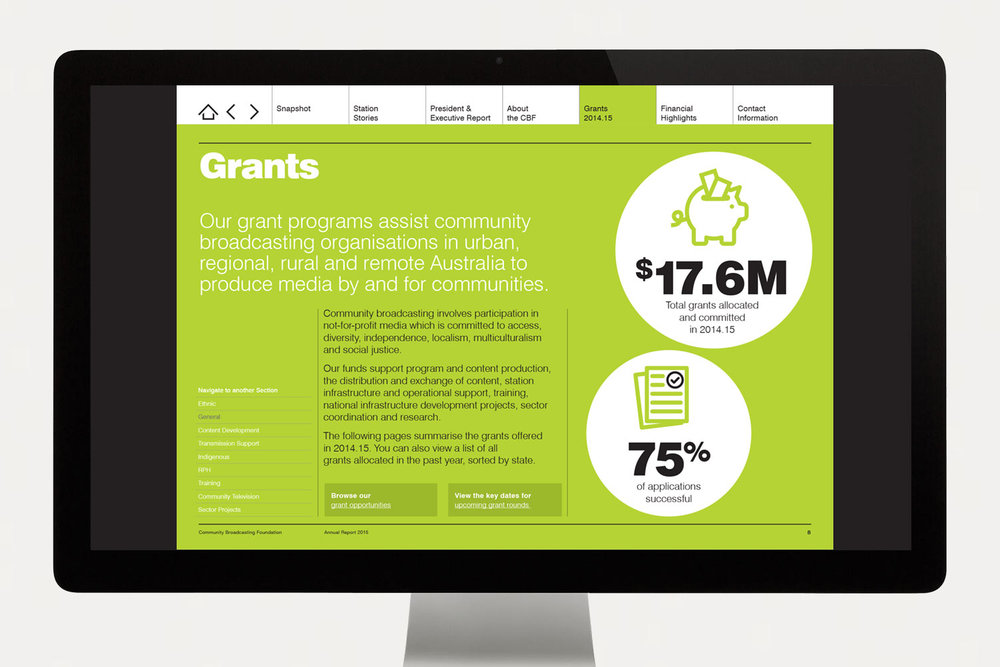 CBF Annual Report grants
