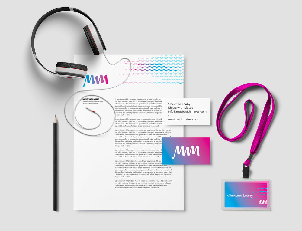 Music with Mates Logo Branding design and collateral items