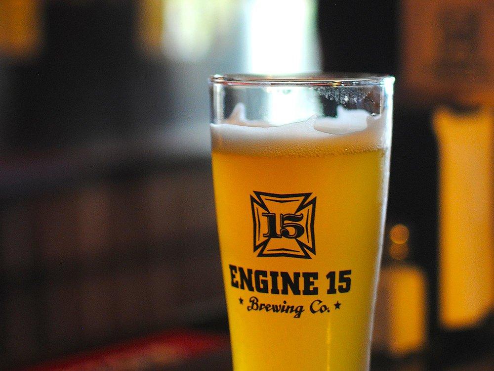 engine 15 beer glass logo design