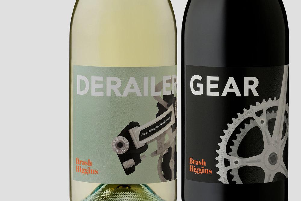 Brash Higgins wine labels for Gear and Derailer