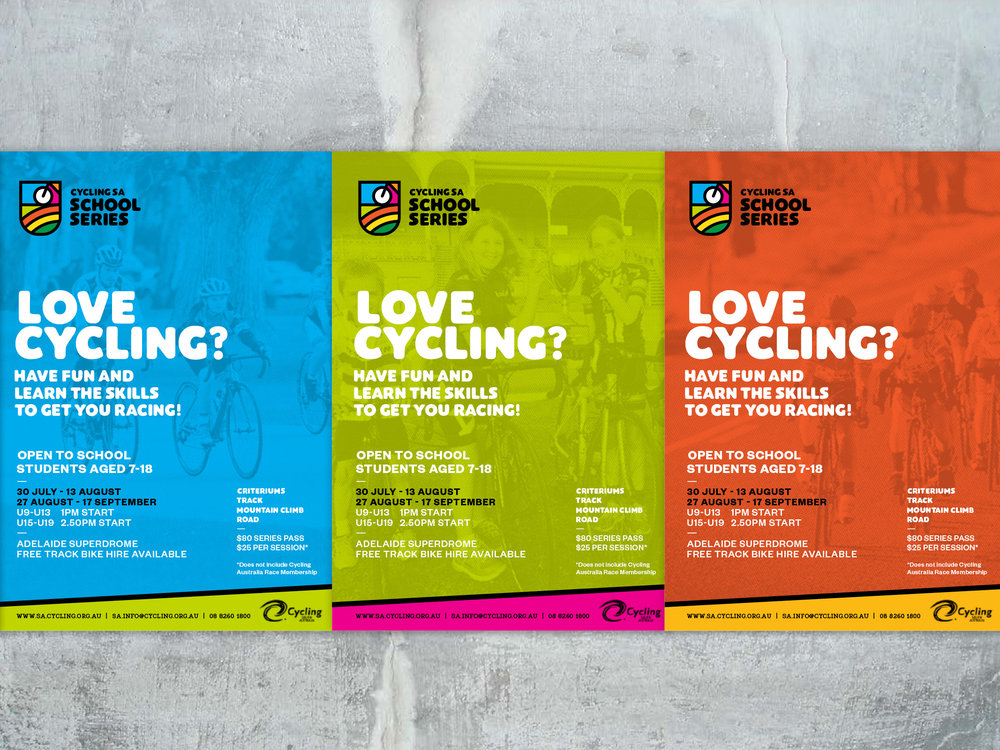 Cycling SA School Series Poster details