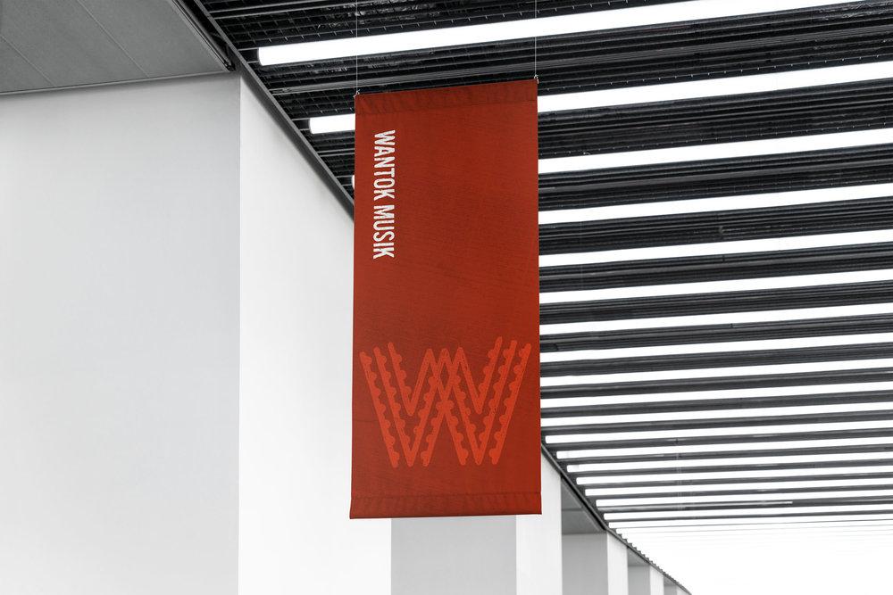 Wantok Musik Rebrand. Hanging Banner