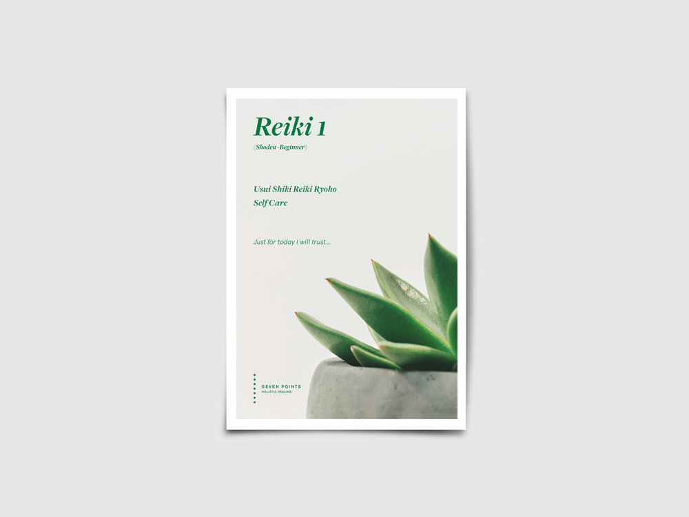 Seven Points Reiki 1 booklet, publication design melbounre