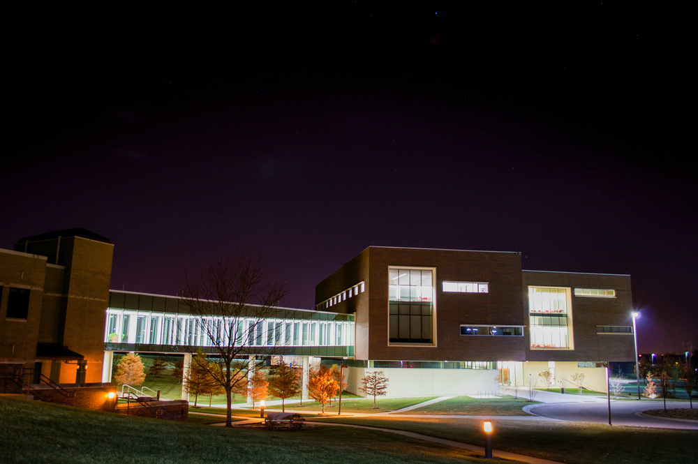 I went to the KU Edwards Campus in Overland Park, KS. It was about 40 degrees at 11pm. I wanted to try and capture some stars as well as the building on campus.
