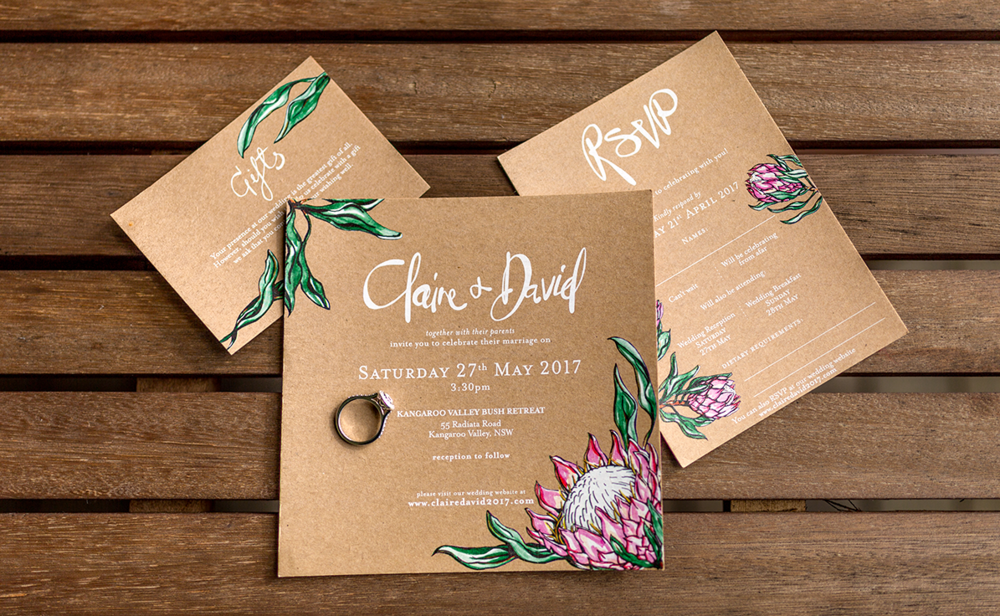 Printed invitation set featuring King Proteas and Gum Leaves