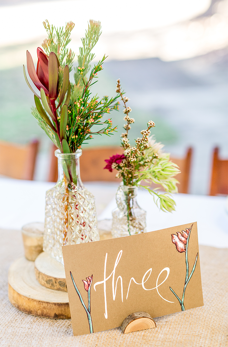 Hand painted table sign featuring Red Kangaroo Paw