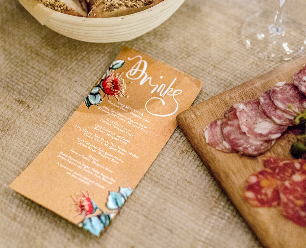 Printed drinks menu for the tables featuring Eucalypt Rhodantha