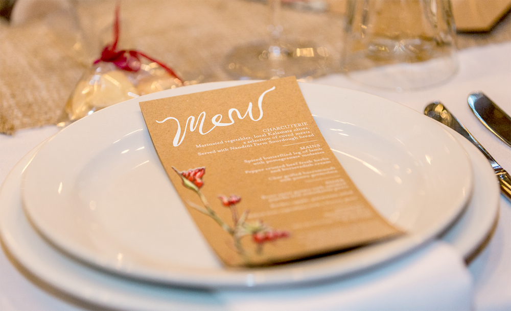 Printed food menu for the table featuring Kangaroo Paw