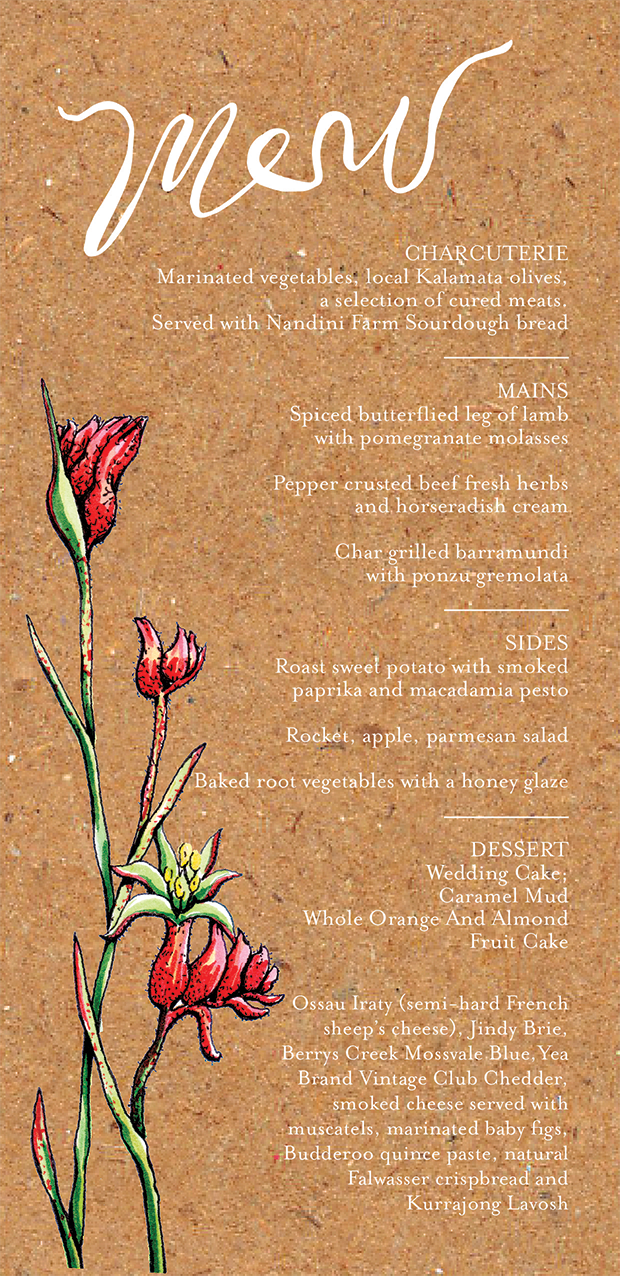 Printed Kangaroo Paw table food menu.