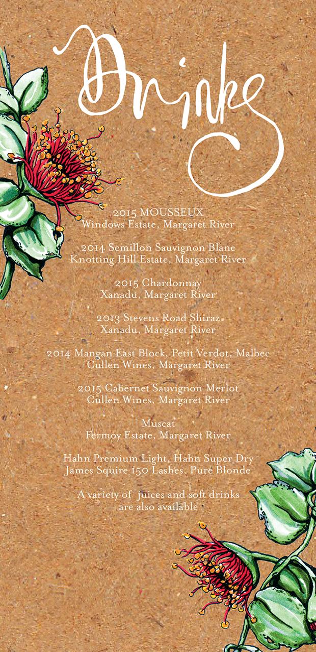 Printed Eucalypt Rhodantha table drink menu.