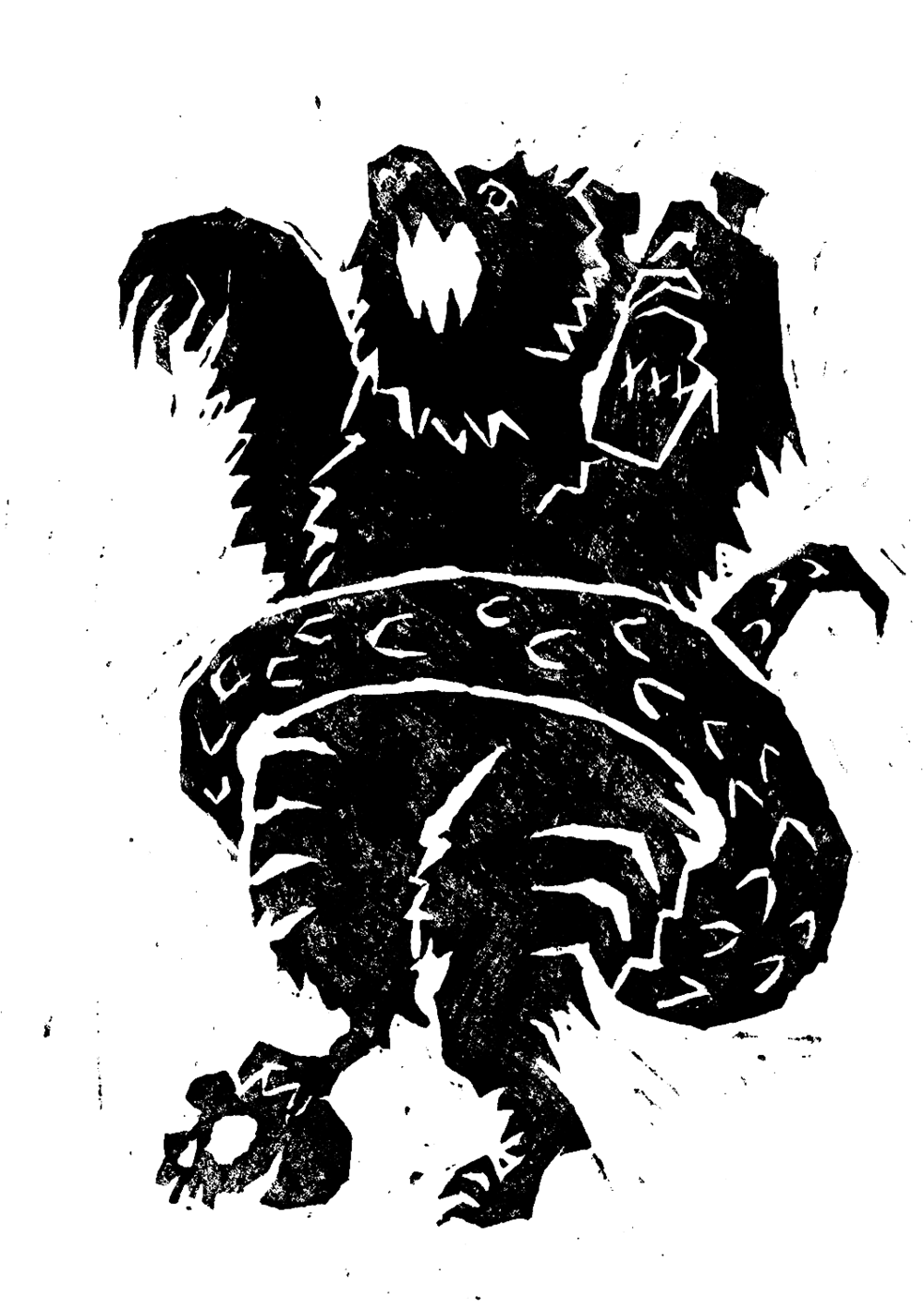 Lino cut illustration of a mythical creature