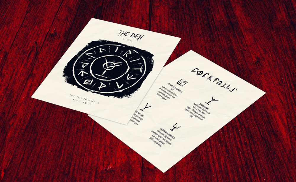 Menu design with cocktail list