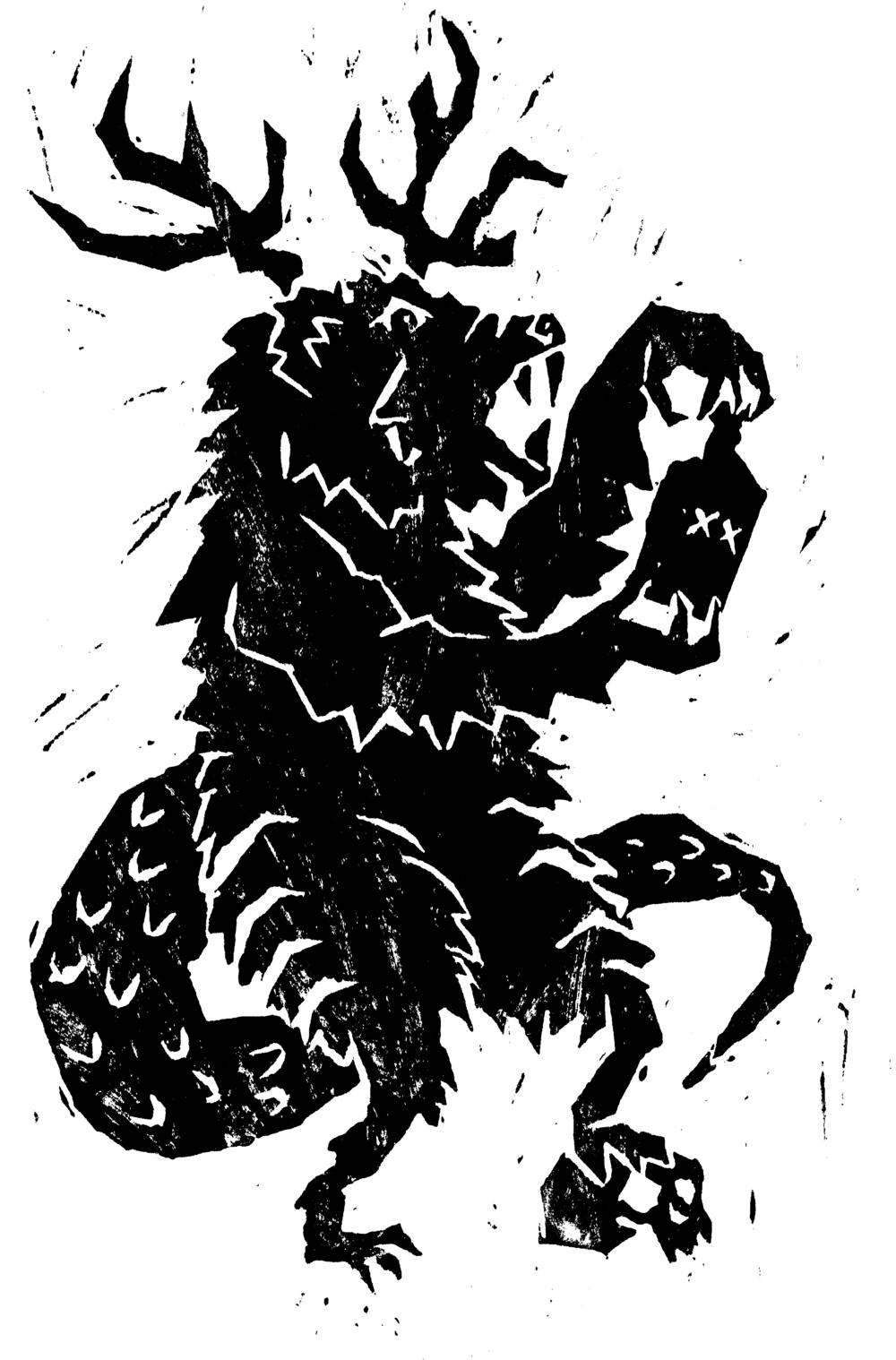 Lino cut illustration of a hybrid creature