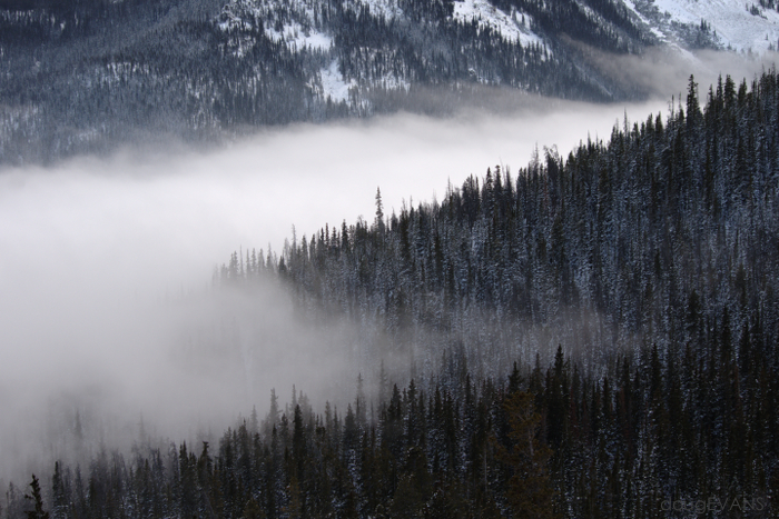 The frigid airmass was visible in the valley south of Berthoud Pass on Tuesday evening.