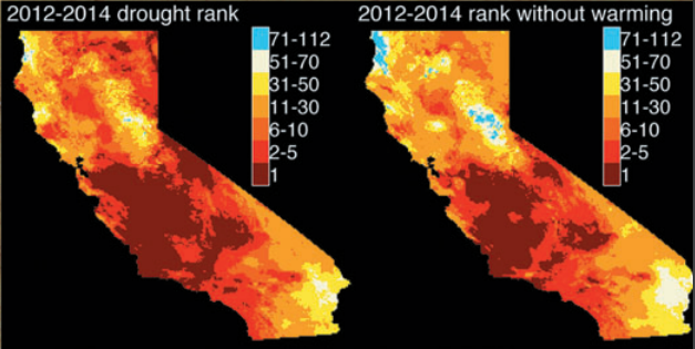 Climate change exacerbated the California drought.  Geophysical Research Letters