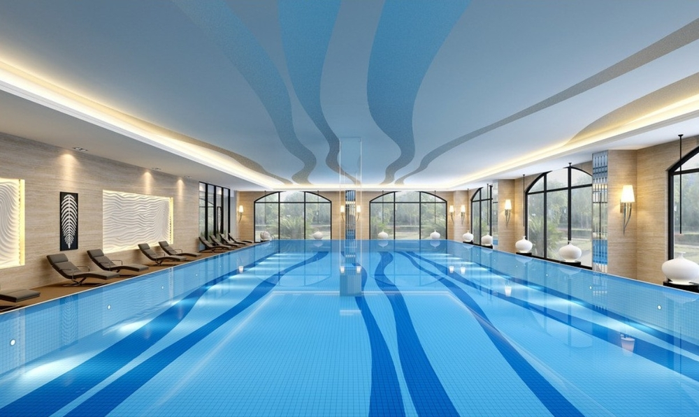 Apartments Indoor Swimming Pool Design Rendered Walls Windows