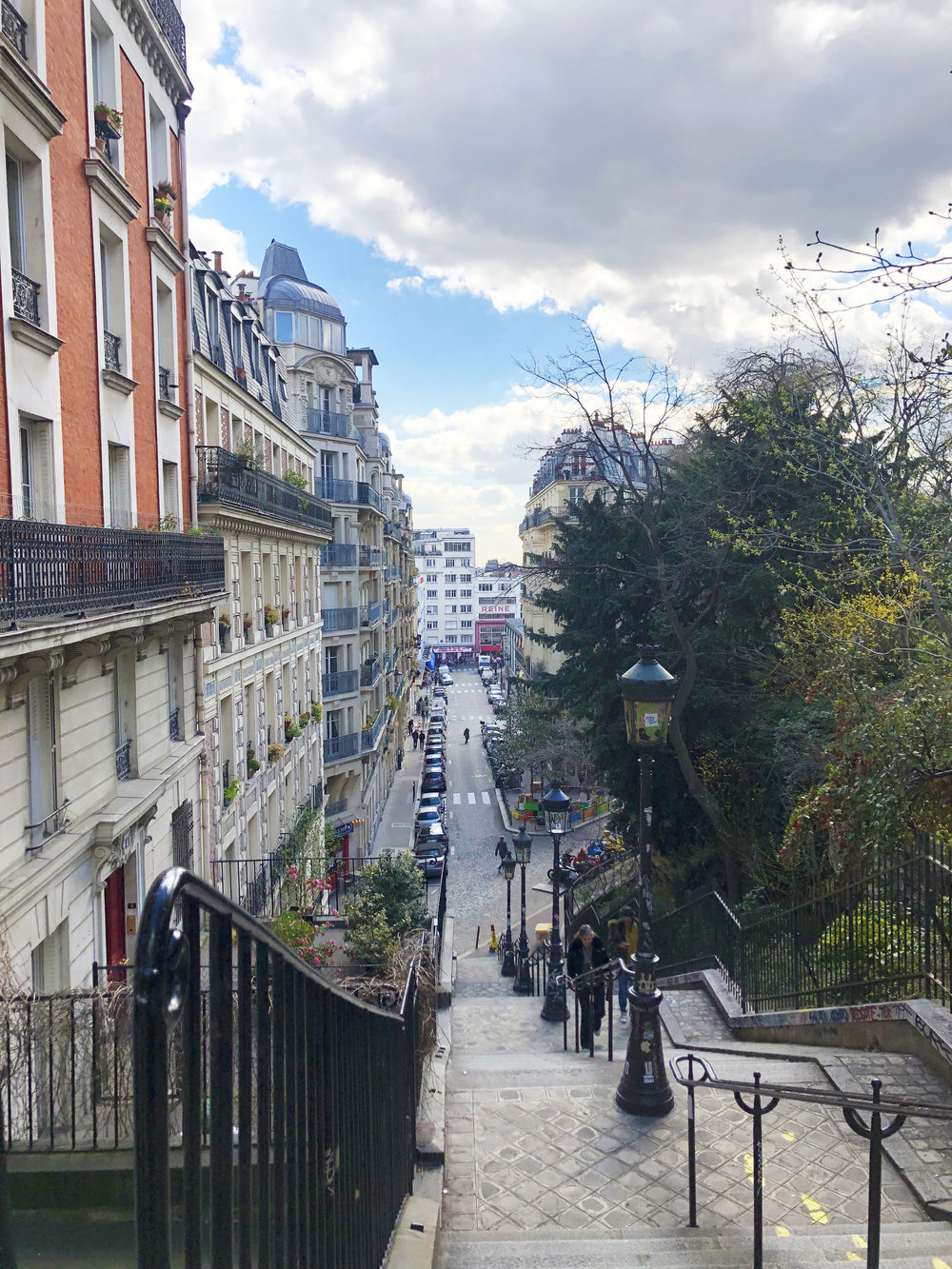 Heading up the stairs towards Montmartre