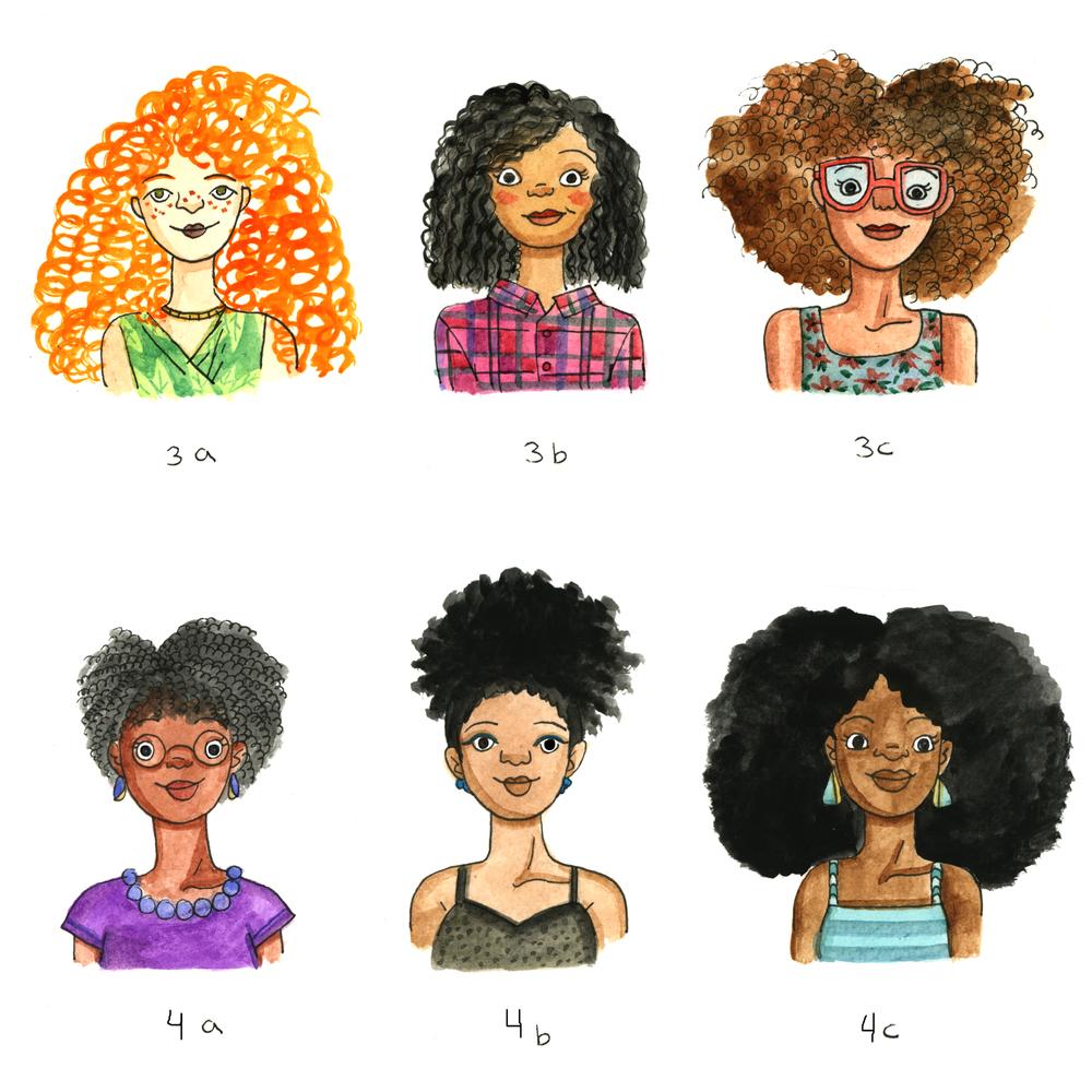 Pop Sugar Hair Type Illustrations