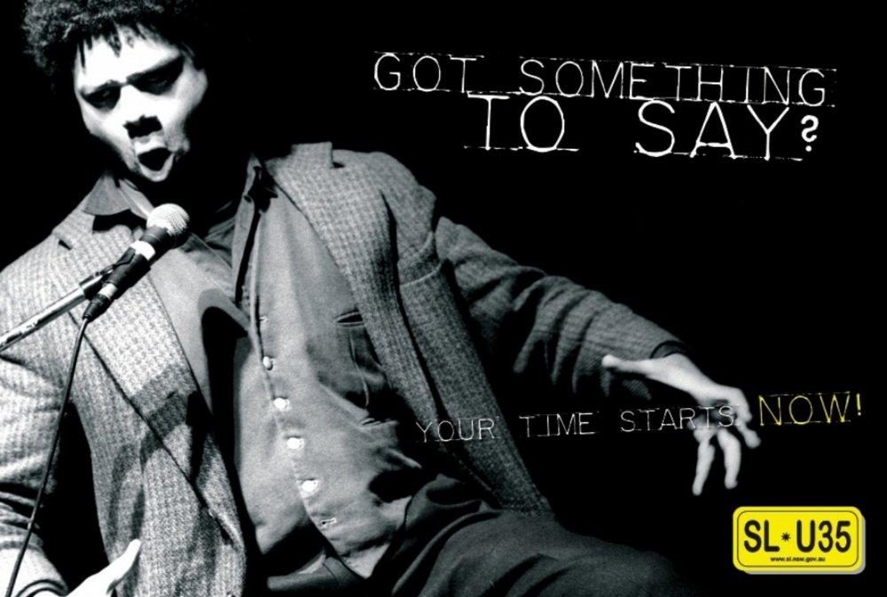 Postcard for Sydney Slam 2005 featuring Miles Merrill as MC